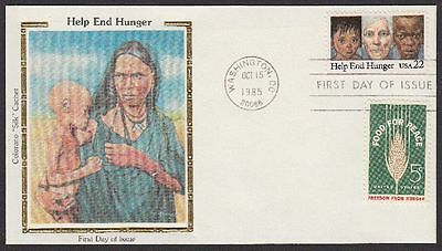 1985 Help End Hunger 22c FDC Sc2164 Combo Colorano Silk Cachet