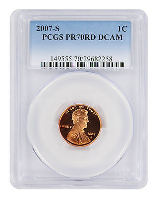 2007-S Lincoln Cent PR70RD DCAM PCGS Proof 70 Red Deep Cameo