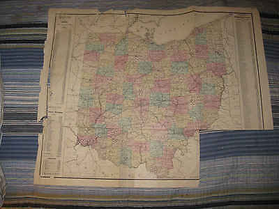 Huge Antique 1875 Dated Ohio Railroad Census Population Handcolored Map Rare Nr
