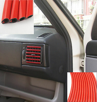 U Style Red Trim Strip Bumper Edge Air-Conditioner Panel Grille Switches 3Mx6mm
