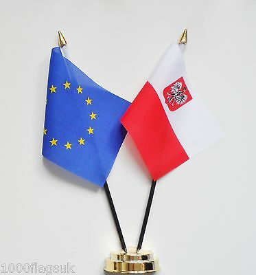 European Union & Poland Eagle Double Friendship Table Flag Set