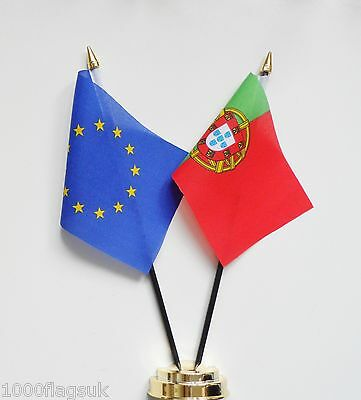European Union & Portugal Double Friendship Table Flag Set