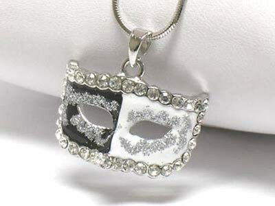Black, white & crystal THEATER MASK pendant necklace NEW free ship in USA