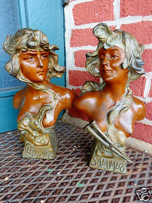 Antique  Victorian French Art Nouveau Signed Gypsy Lady Bronze Wash Bust Set