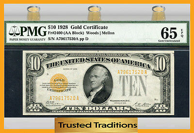 Tt 1928 $10 Gold Certificate Fr # 2400 Pmg 65 Epq Gem Uncirculated Really Nice