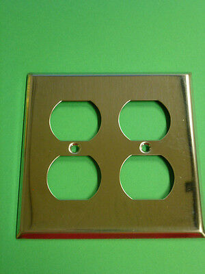 Nos! Bell Electric 2-Gang Chrome Finish, Duplex Receptacle Wall Plate