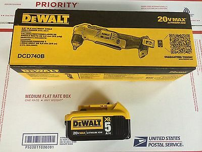 DEWALT 20V 3/8-in Right Angle Drill/Driver DCD740 + DCB205 5.0AH Battery NEW