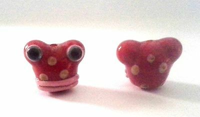 2 Red Frogs with Lips Chinese Lampwork Beads - So Very Cute!
