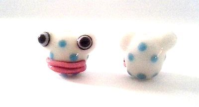 2 White Frogs with Lips Chinese Lampwork Beads - So Very Cute!