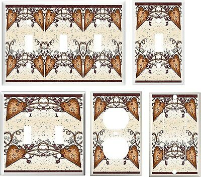Country Heart Eath Tones  Light Switch Cover Plate Or Outlets U Pick Plate