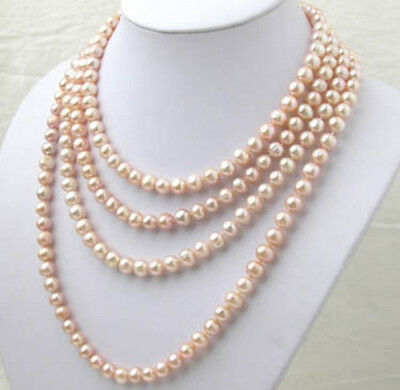 AAA 7-8MM pink Akoya pearl long necklace 100 inch  KL88