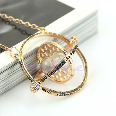 Harry Potter Time Turner Gold Hourglass Necklace Hermione Granger Rotating Spins