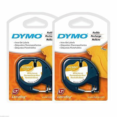 "2PK Dymo Letra Tag 18771 IRON-ON 1/2"" Labels for Clothing Fabric Towels LetraTag"