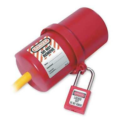 MASTER LOCK 488 Plug Lockout, Red, 9/16In Shackle Dia.
