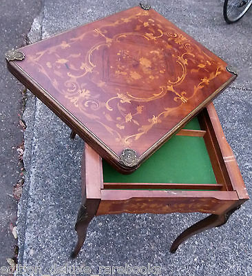 1700s ANTIQUE GAME TABLE Folding INLAID WOOD Cards POKER Chippendale ORNATE VTG
