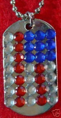 """Patriotic USA American Flag DOG TAG Jewel Necklace 1.5"""" Silver MINT NEW!"""