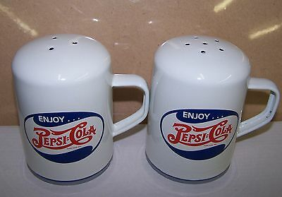 PEPSI COLA WHITE ENAMELWARE SALT & PEPPER SET NEW NEVER USED