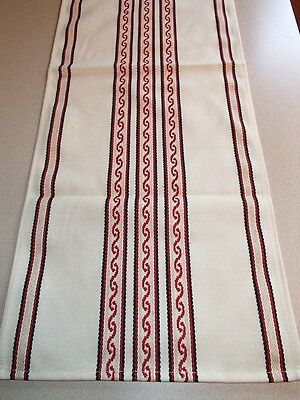 """Swedish Cotton Table Runner Freya Off White with Red 13"""" x 36"""" Woven in Sweden"""