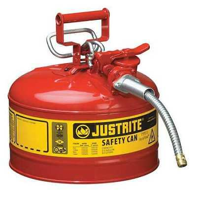 Type II Safety Can,12 In.,Red,2-1/2 gal. JUSTRITE 7225120