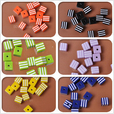 20pcs 50pcs charm Stripes acrylic Square Loose Beads spacer bead 8mm u pick