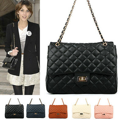 NEW Women Shoulder Quilted Bag Handbag Gold Chain Faux Leather Cross Body Bag