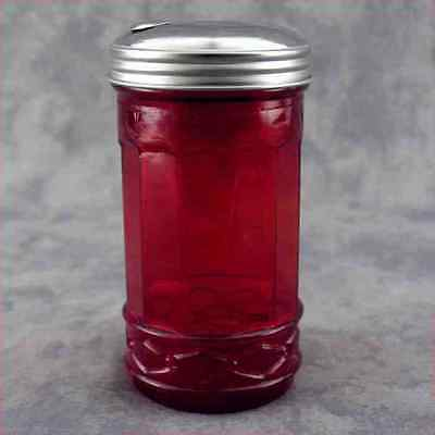 RED GLASS SUGAR SHAKER with FLIP SPOUT DISPENSER ~ DINER STYLE ~
