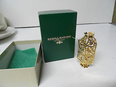 REED & BARTON 24K Electroplate Christmas Ornament in OB - BIRDS IN HOLLY