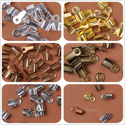 200Pcs  Metal Double Caps End Crimps beads tips 4 x 6mm Findings 5 color
