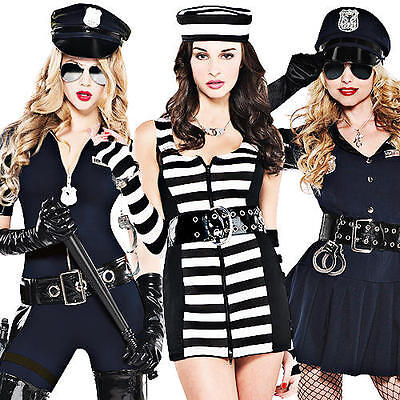 Cops u0026 Robbers Ladies Fancy Dress Police Uniform Convict Womens Costume Outfits  sc 1 st  PicClick UK & COPS u0026 ROBBERS Ladies Fancy Dress Police Uniform Convict Womens ...