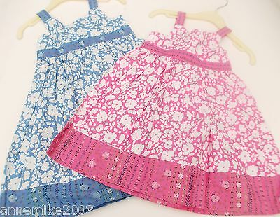 BNWT Girls pink or blue pretty summer floral cotton dress . 12-18 mth  2-3 Year