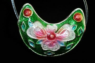 One/Asian Flair~Vintage Chinese CLOISONNE ENAMEL CRESCENT MOON Bead I0862