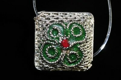One/AsianFlair~Vintage Chinese CLOISONNE ENAMEL Meshed Diamond Square Bead Q0862