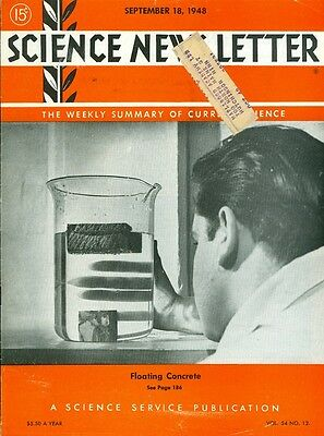 1948 Science News Letter: Vol.54 No.12 Floating Concrete/Collapsible Cloth Lung