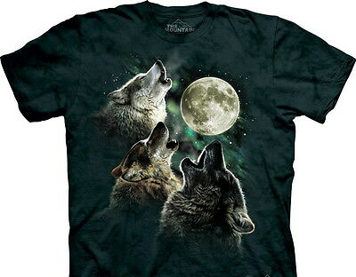 Three Wolf Moon Wolves Howling At The Moon Hand-Dyed Art T-Shirt, NEW UNWORN