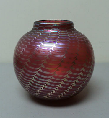 CORREIA Studio Art Glass Vase, Cranberry with Silver Iridescent Ribbons
