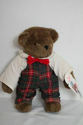 """The Vermont Teddy Bear Co. 12"""" Bear in Plaid Overalls 1984 NWT"""