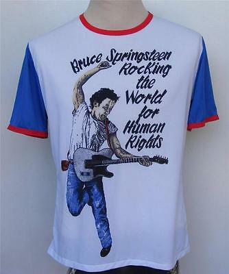 Bruce Springsteen Vtg 80s Jersey Shirt L Human Rights Rocking the World Tour