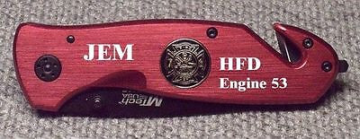 Personalized Laser Engraved Fire Fighter Rescue Knife  - Solid Red