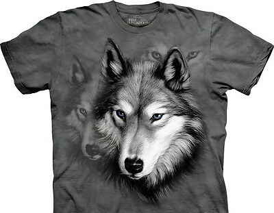 Wolf Portrait Collage Hand Dyed Grey Art T-Shirt, NEW UNWORN