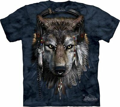 DJ Fen Wolf with Earphones and Feathers Hand Dyed Art T-Shirt, NEW UNWORN
