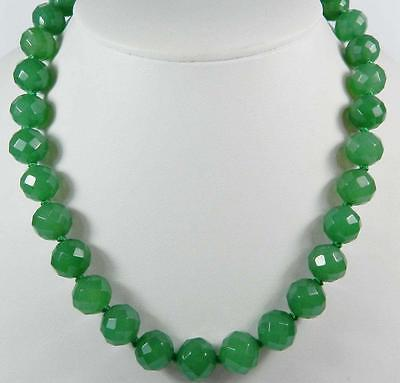 Stunning! 10mm Green Emerald Faceted Round Beads Necklace 18""