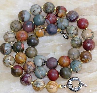 AAA Natural 10mm Multi-color Picasso Jasper Round Gemstone Beads Necklace 18""