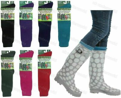 Ladies Plain Wellington Welly Wellie Liners Thermal Boot Socks Womens Adults 4-8