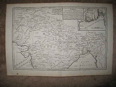 Superb Antique 1780 Northern India Mogol Indostan Bonne Copperplate Map Calcutta