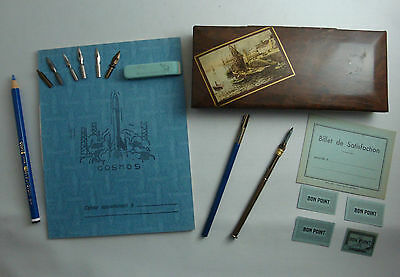 Lot Plumier 1 Ecole Scolaire Ancien Cahier Porte Plume Bon Point Crayon School