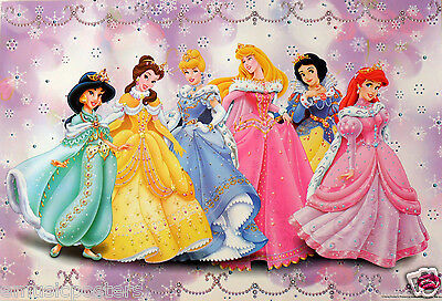 "DISNEY ""PRINCESSES IN FANCY GOWNS"" POSTER - Jasmine, Belle,Cinderella,Snow White"