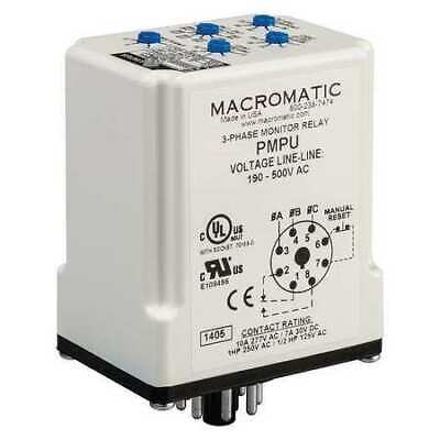 MACROMATIC PMPU 3Phase Line Monitor,SPDT,8Pin,208-480VAC
