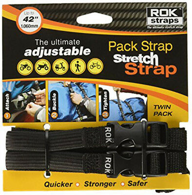 "ADJUSTABLE BACKPACKER, TRAVELING ROK STRAPS, 12"" to 42"" LUGGAGE BUNGEE TWIN PACK"