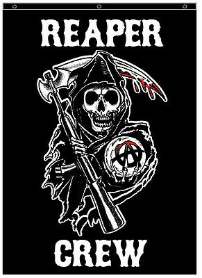 RARE! AUTHENTIC SONS OF ANARCHY REAPER CREW SOA 84X60 CLOTH WALL BANNER POSTER