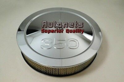 """14"""" Chevy 350 Logo Chrome Steel Air Cleaner Filter Street Hot Rod Recessed Base"""